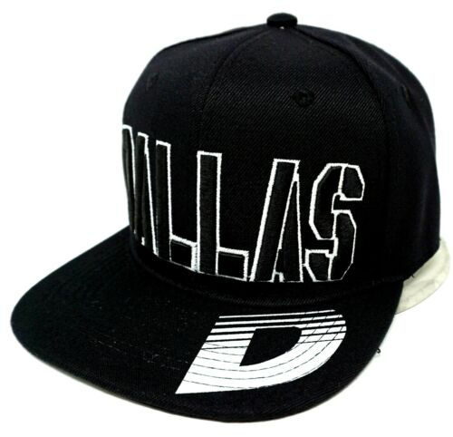 DALLAS City Snapback Cap Hat Texas OSFM Adjustable Black NWT