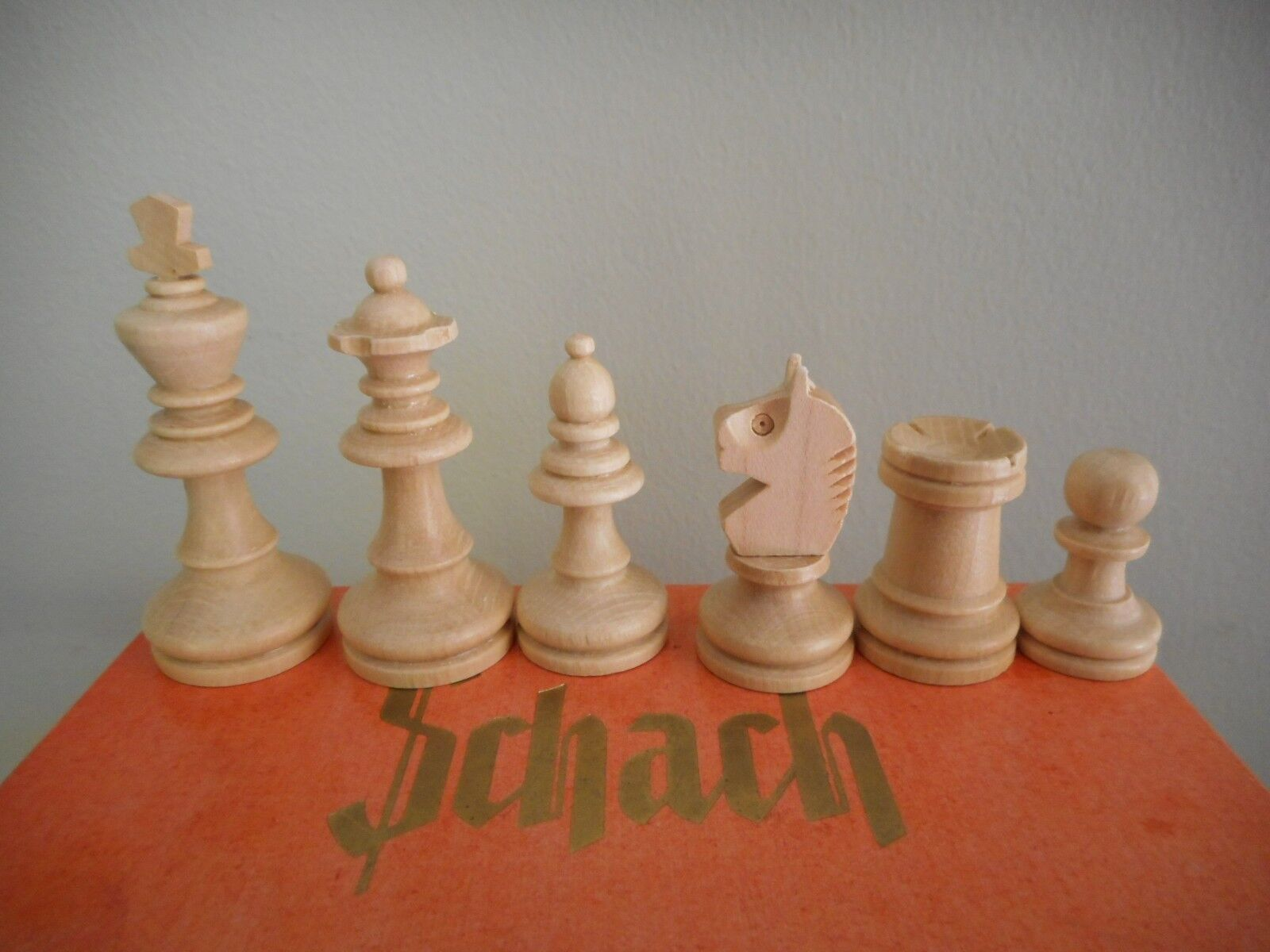 Vintage wood chess set in original box, made in Germany