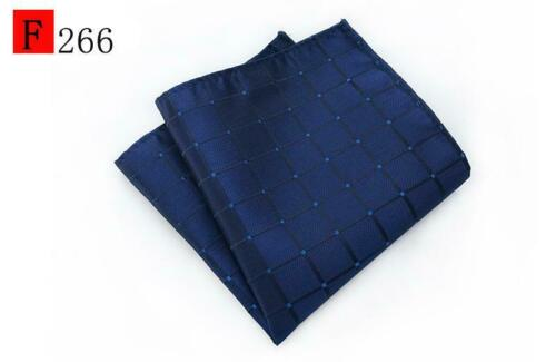Blue Grey Silver Black Beige Reed Patterned Pocket Square Hanky Handkerchief