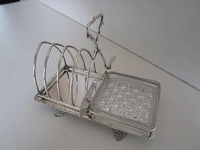 Silver Plate & Cut Glass Toast Rack / Butter Dish..Circa 1910..