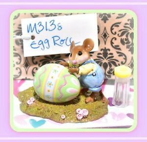 ❤️Wee Forest Folk M-313s Egg Roll RETIRED Mouse Easter 2008 Yellow Blue LTD Ed❤️
