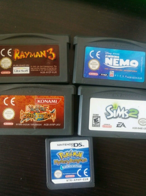 Pokémon The Sims 2, Rayman 3, Yu Gi Oh, find nemo, Gameboy…