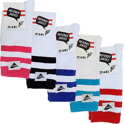 Intellektuell Womens Ladies Ankle Calf 3 Stripe Socks Ii8 Fancy Dress Party New Size Referee