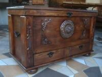 Wooden Blanket Box Coffee Table Trunk Vintage Chest Wooden Ottoman Shelve (sm1)