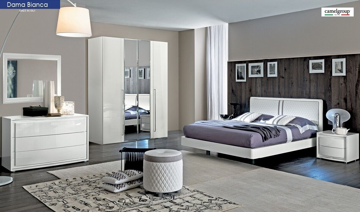 Picture of: Dama Bianca Contemporary King Bedroom Set In White High Gloss 5 Piece For Sale Online