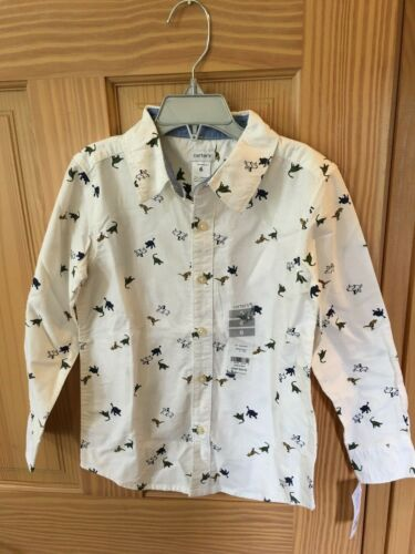 New Carter/'s Dinosaur Oxford Boys Shirt Top Button Down Size 6,7,8,10,12,14