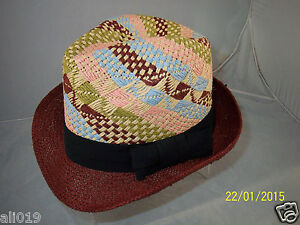 4fffaccb6 Details about My Style Lab Woven Paper Straw Fedora Hat One Size Wine Multi  Black Bow Band