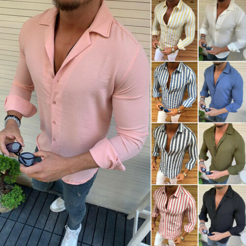 Fashion Men/'s Summer Casual Dress Shirt Mens Striped Short Sleeve Shirt Tops Tee
