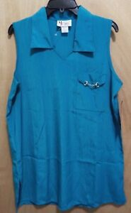 NWT-2-PC-Pant-Set-Maggie-Sweet-Ladies-Sleeveless-Teal-Top-amp-Pants-Size-M-amp-S