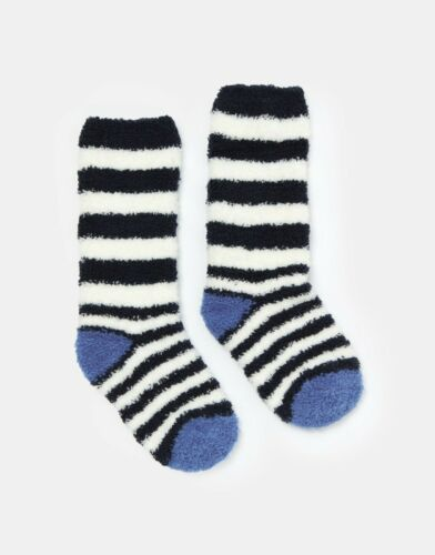 *BNWT* Joules Boys Fab Fluffy Socks Blue White Striped Cosy Soft Warm Toasty