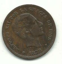 VERY NICE HIGHER GRADE 1879 OM SPAIN DIEZ GRAMOS 5 CENTIMOS-OLD COIN-OCT452