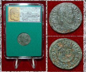 Ancient-Roman-Empire-Coin-Of-CONSTANTINE-THE-GREAT-VOT-XX-In-Laurel-Wreath