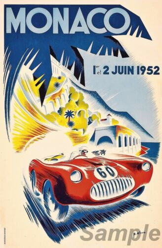 VINTAGE 1952 MONACO GRAND PRIX RACING A3 POSTER PRINT