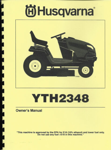 husqvarna lawn tractor yth2348 owners parts manual ebay rh ebay com husqvarna lawn mower parts manual husqvarna lawn mower yth21k46 owners manual