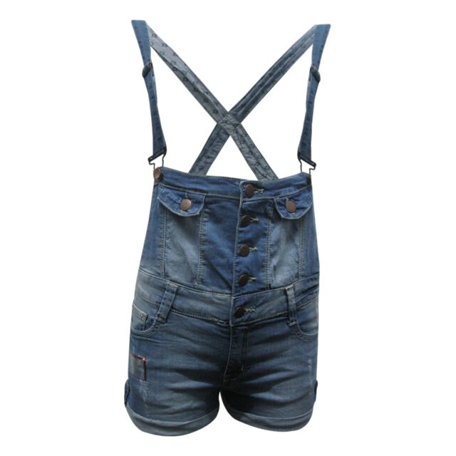 New Ladies Womens Denim Dungarees Shorts All In One Playsuit Adjustable Straps