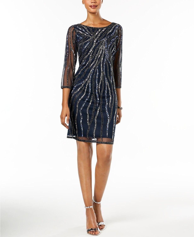 NWT  JKARA damen Blau EMBELLISHED BEADED SEQUINED A-LINE DRESS Größe 8