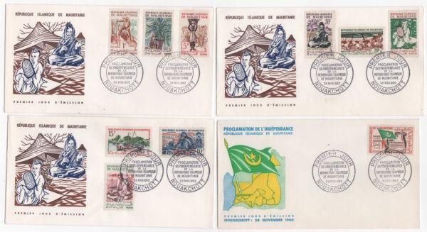 DernièRe Collection De Mauritanie Nouakchott 4 Fdc Enveloppes Timbres 1er Jour 1960 /fdc116