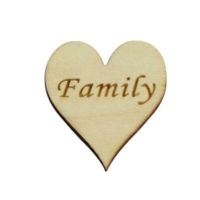 Wooden Heart with Family Text 4cm Pack of 10 Wooden Embellishment -