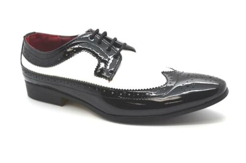 New Boys Patent Brogue Spats Two Tone Black//White Shoes EU Size 35-40