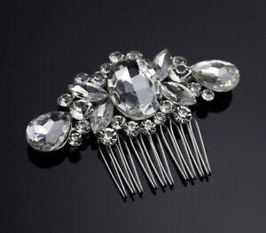 Uk-Bridal-Prom-Silver-Crystal-Diamante-Hair-Pin-Clip-Comb-Slide-Fascinator