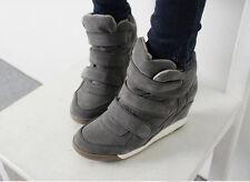 Women's Vintage Faux Suede High-top Hidden Heel Wedge Platform Sneakers Shoes SZ