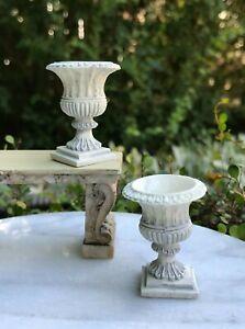 Miniature Dollhouse FAIRY GARDEN Accessories ~ 2 Gray English Planter Pots NEW