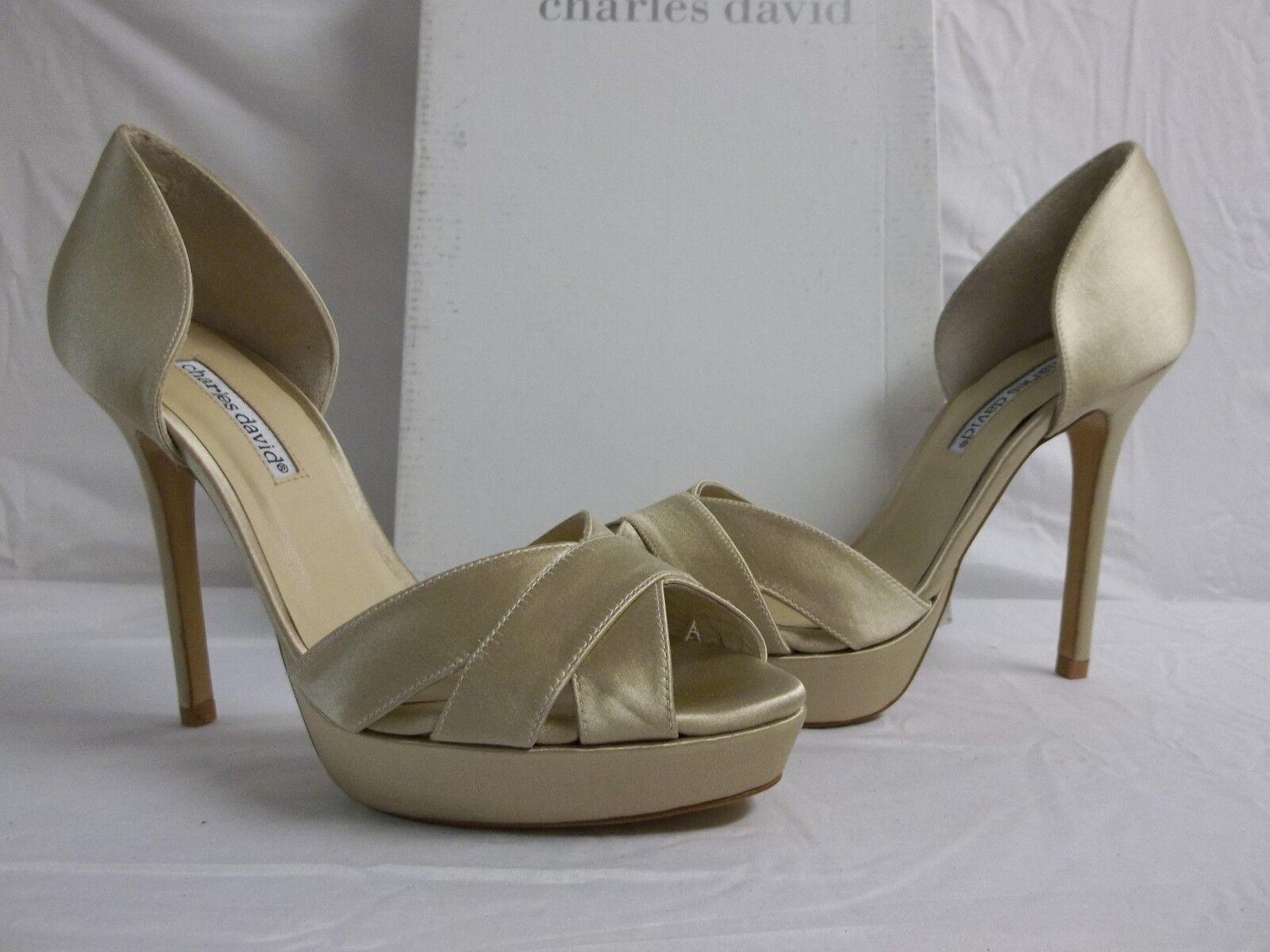 Charles David Größe 9.5 M Seduce Champagne Satin Open Toe Heels NEU Damenschuhe Schuhes