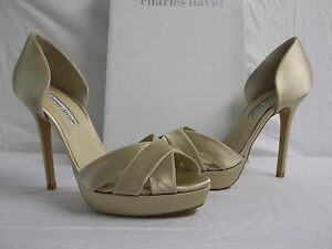Charles-David-Size-9-5-M-Seduce-Champagne-Satin-Open-Toe-Heels-New-Womens-Shoes