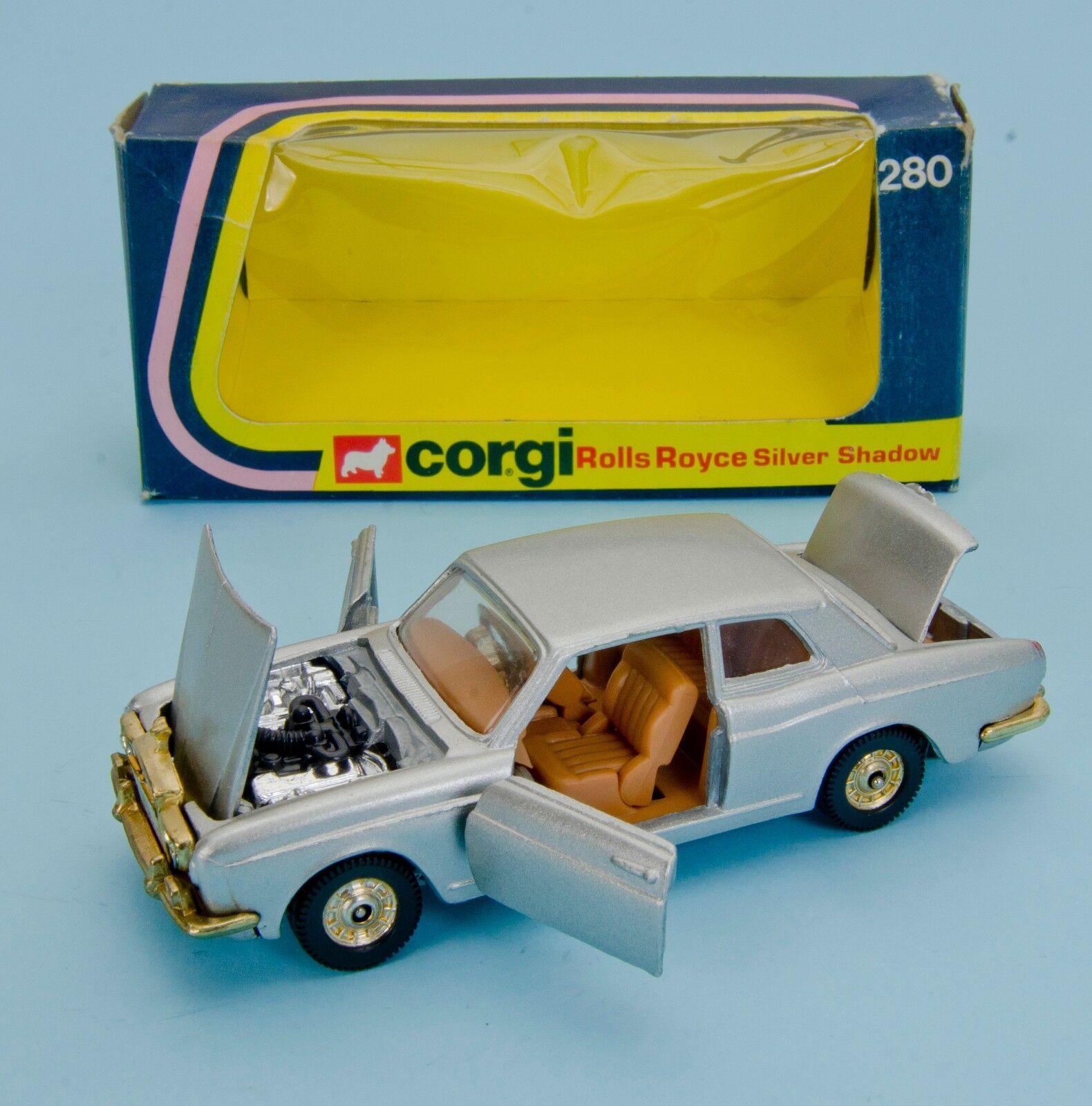 Corgi 280 Rolls Royce. sombra de plata metálico Plata. vnmint Caja. década De 1970