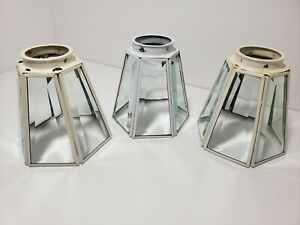 3-White-Vintage-Stained-Clear-Beveled-Glass-Ceiling-Light-Lamp-Shades-6-Panels