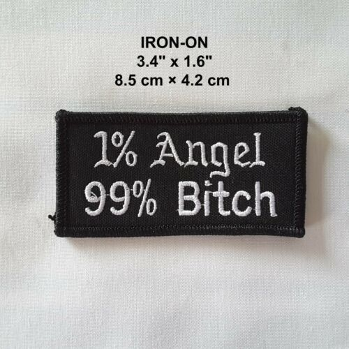 1/% Angel 99/% Bitch Badge Embroidered Iron-on Emblem Biker Babe Patch Applique