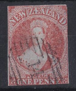 NZ34-New-Zealand-1857-1d-Dull-Orange-Imperf-Chalon-wmk-Large-Star-SG-7-Nice