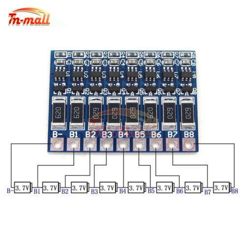 8S 29.6V 33.6V 18650 Li-ion Lithium Battery Charger 8 Cell 4.2V Balance Board