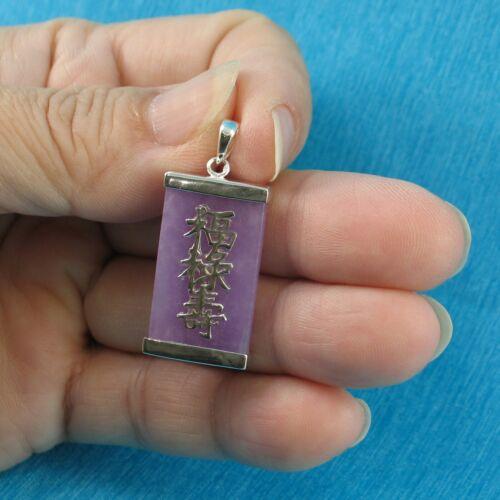 Rectangle Tablette Lavande Jade Argent 925 Trois étoiles de chance pendentif TPJ