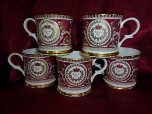Set-of-5-x-1995-BUCKINGHAM-PALACE-Souvenir-Gilded-China-MUG-Purple-Gold-Royalty