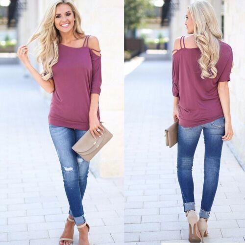 Ladies Plain Slash Neck Womens Baggy Off Shoulder Oversized Bardot T Shirt Top