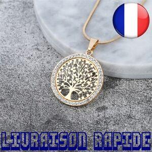 Collier-Arbre-de-Vie-chaude-Cristal-Rond-Petit-Pendentif-Bijoux-Elegant-Femme