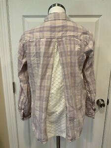 Isabella Sinclair Anthropologie Purple Plaid Button Up Shirt W/ Lace, Size S