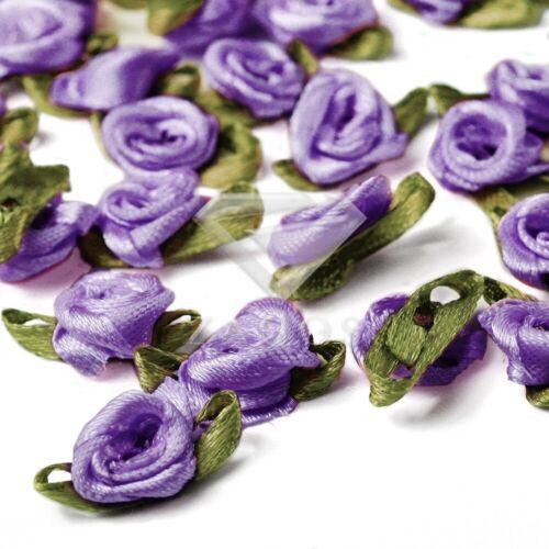 50stk.Satinband Rose Blumen 12mm Craft Bogen Hochzeit Dekor Appliques RN0031-11