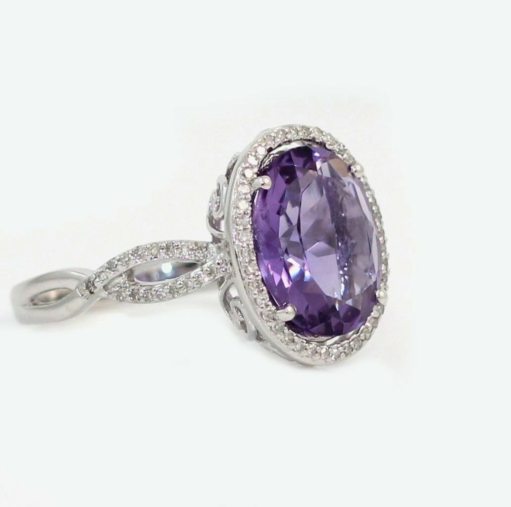 New Solid 14K White gold Natural Amethyst Diamond Halo Ring Size 6 7 8