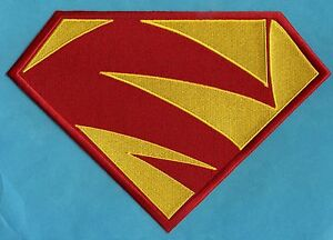 7-034-x-10-034-Embroidered-Supergirl-Superman-New-52-Red-amp-Yellow-Chest-Logo-Patch