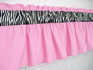 3 Inch Wide Rod Pocket Baby Pink And Zebra Print Window Valance