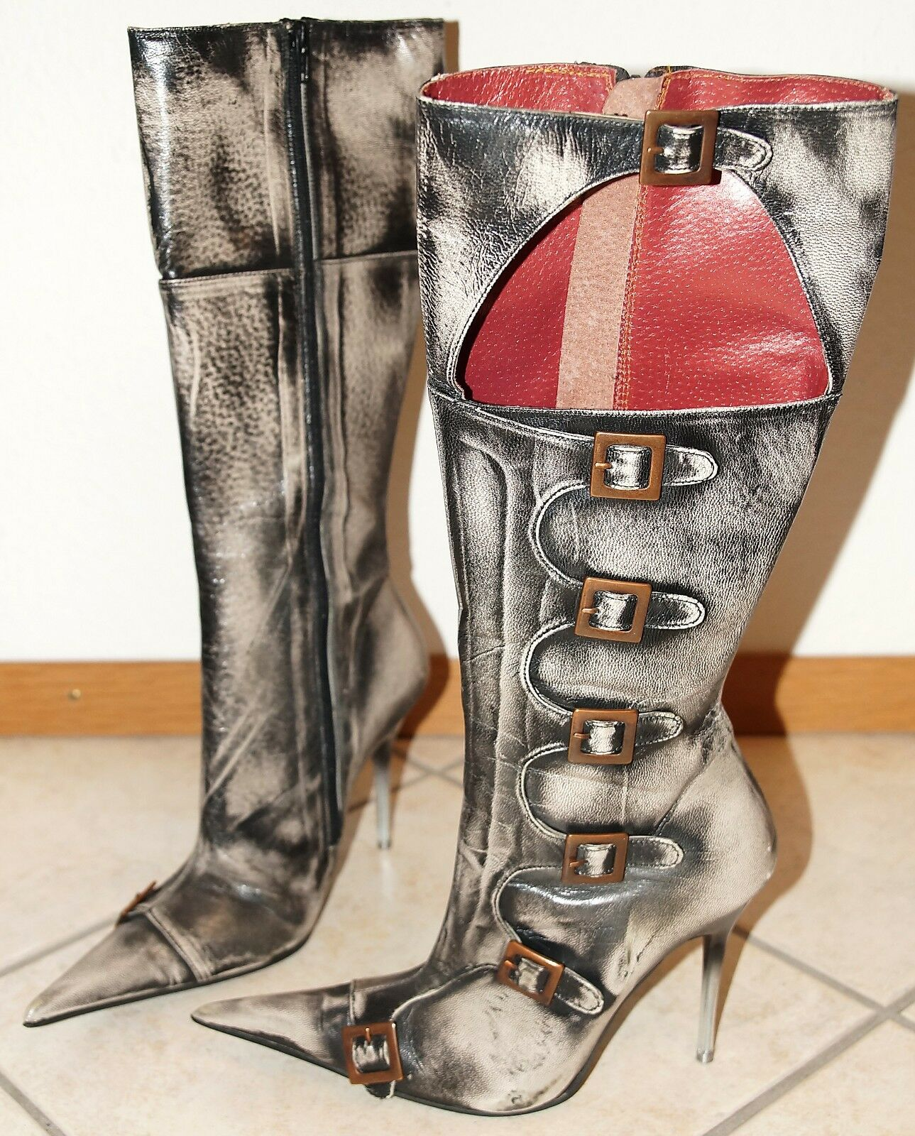 Luichiny 38, sexy-erótico High-heel rodilla botas metal-Stiletto-apartado 11cm