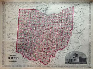Ohio United States Map.Johnson S Ohio Incision Original 1864 Map United States Map Ebay