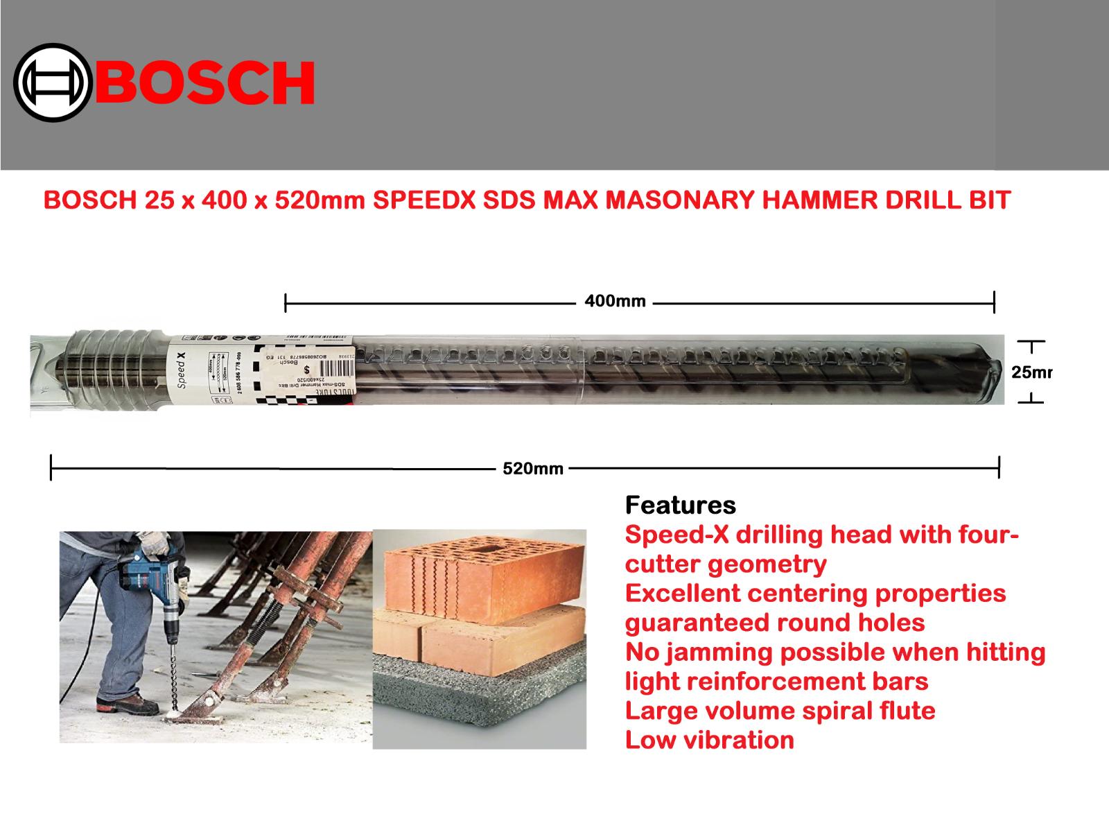 Bosch SDS-max-4 M4 Hammer Drill Bit 40 x 400 x 520 mm 2608685877