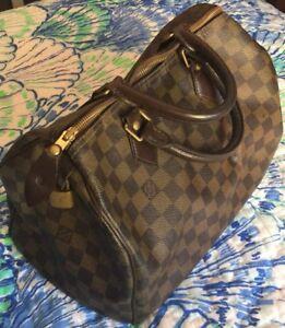 3f19d67b9cf1 Louis Vuitton Damier Ebene DE Speedy 30 Bag Purse Satchel Authentic ...