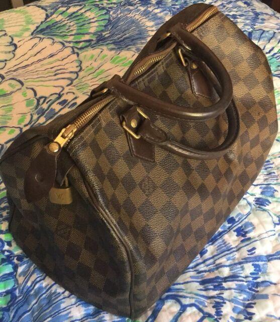 2dbf0dc71f4e Louis Vuitton Damier Ebene DE Speedy 30 Bag Purse Satchel Authentic USA  SD4097