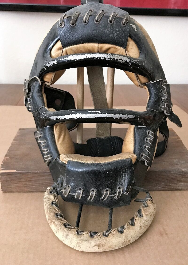 CROWN  VERY RARE VINTAGE CATCHER'S MASK WITH THROAT PROTECTOR SUPER NEAT