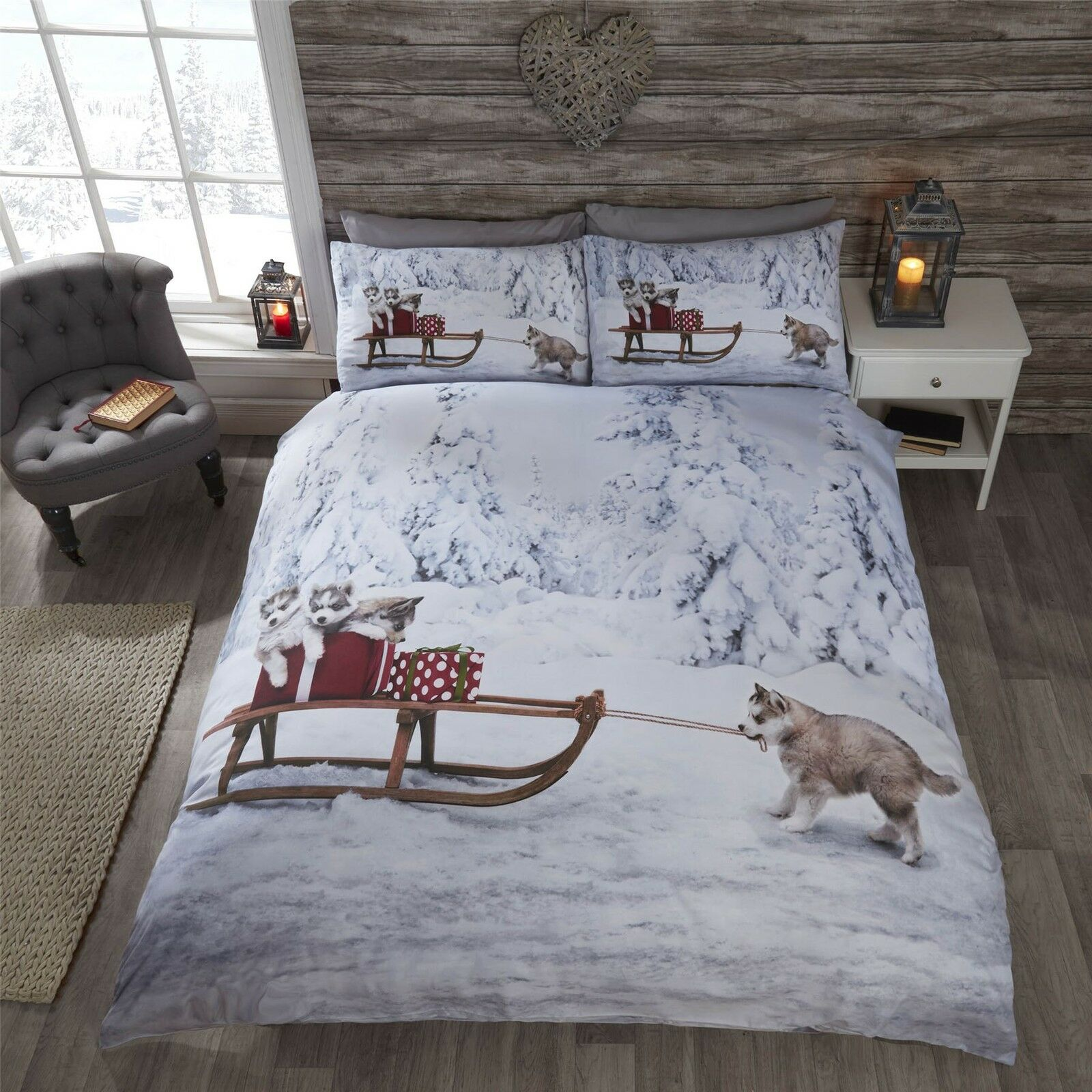 Weihnachten Husky Hund Welpen Schlitten Schnee Bäume white Beige Kingsize