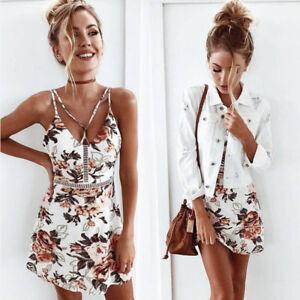 Women-Summer-Sleeveless-Floral-Evening-Party-Cocktail-Beach-Short-Mini-Dress-AU